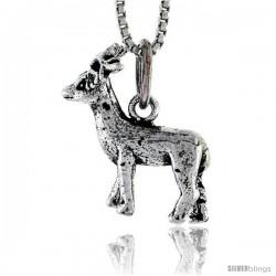 "Sterling Silver Deer Pendant, 5/8"" tall"