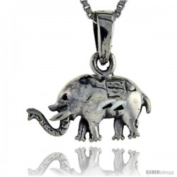 Sterling Silver Elephant Pendant, 1 in tall