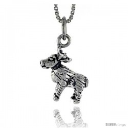 Sterling Silver Reindeer Pendant, 1/2 in tall