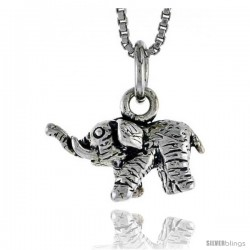 Sterling Silver Elephant Pendant, 5/8 in wide
