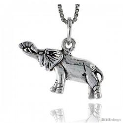Sterling Silver Elephant Pendant, 1 in wide