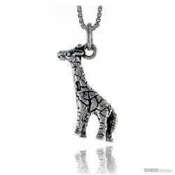 Sterling Silver Giraffe Pendant, 3/4 in tall -Style Pa1447