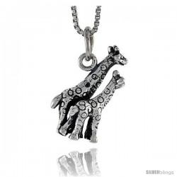 Sterling Silver Double Giraffe Pendant, 3/4 in tall