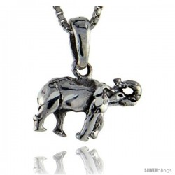 Sterling Silver Elephant Pendant, 3/4 in tall