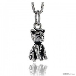Sterling Silver Cat Pendant, 1/2 in tall -Style Pa1451