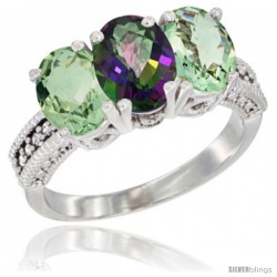 14K White Gold Natural Mystic Topaz & Green Amethyst Ring 3-Stone 7x5 mm Oval Diamond Accent