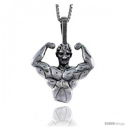Sterling Silver Bodybuilder Pendant, 7/8 in tall