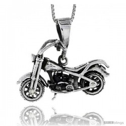 Sterling Silver Motorcycle Pendant, 1 1/4 in wide