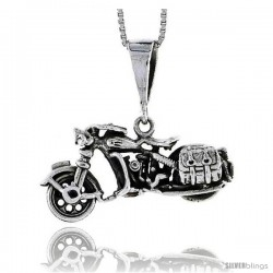 Sterling Silver Motorcycle Pendant, 1 1/4 in wide -Style Pa1422