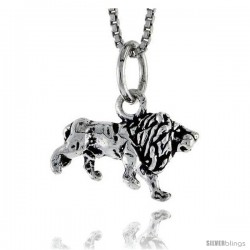 Sterling Silver Lion Pendant, 5/8 in wide -Style Pa1454