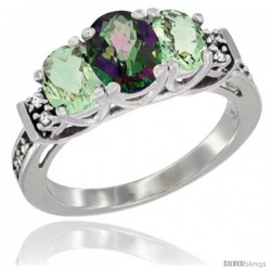 14K White Gold Natural Mystic Topaz & Green Amethyst Ring 3-Stone Oval with Diamond Accent