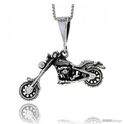 Sterling Silver Motorcycle (Harley Davidson Type) Pendant, 1 1/4 in wide