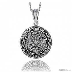 Sterling Silver U.S. Department of the Army Medal, 1 in tall