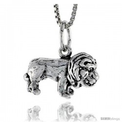 Sterling Silver Lion Pendant, 3/4 in wide