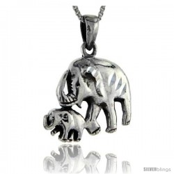 Sterling Silver Mom and Baby Elephant Pendant, 1 1/4 in tall