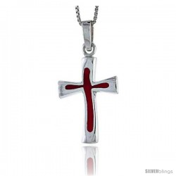 Sterling Silver Cross w/ Red Enamel, 1 in tall