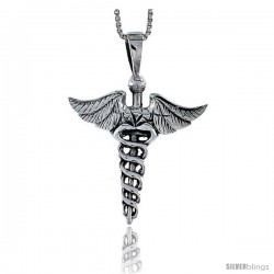 Sterling Silver Caduceus (Medical Symbol) Pendant, 1 1/8 in tall