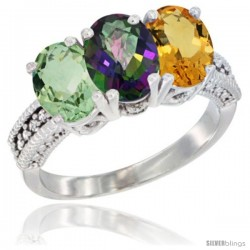 14K White Gold Natural Green Amethyst, Mystic Topaz & Citrine Ring 3-Stone 7x5 mm Oval Diamond Accent