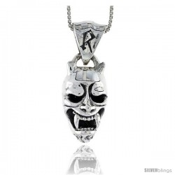 Sterling Silver Demon / Devil Pendant, 7/8 in tall
