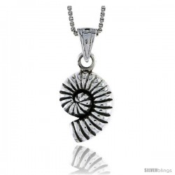Sterling Silver Snail Shell Pendant, 5/8 in tall