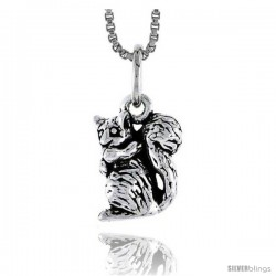 Sterling Silver Squirrel Pendant, 1/2 in tall