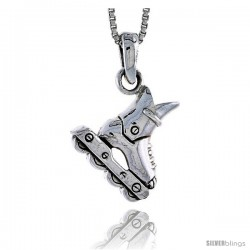 Sterling Silver Roller Blade Pendant, 3/4 in tall