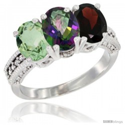 14K White Gold Natural Green Amethyst, Mystic Topaz & Garnet Ring 3-Stone 7x5 mm Oval Diamond Accent