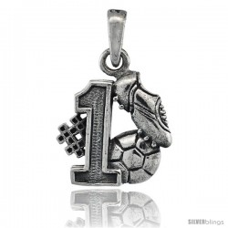 Sterling Silver No. 1 Soccer Player Ball & Shoe Pendant, 3/4 in tall