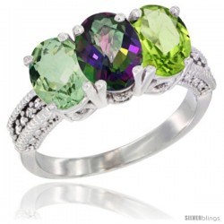 14K White Gold Natural Green Amethyst, Mystic Topaz & Peridot Ring 3-Stone 7x5 mm Oval Diamond Accent