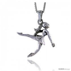 Sterling Silver Ballerina Pendant, 7/8 in tall