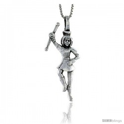 Sterling Silver Majorette Pendant, 1 1/2 in tall