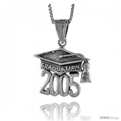 Sterling Silver 2005 Graduation Hat ( Mortarboard ) Pendant, 3/4 in