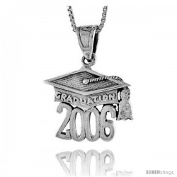 Sterling Silver 2006 Graduation Hat ( Mortarboard ) Pendant, 3/4 in