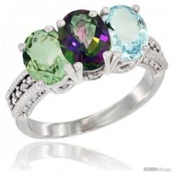 14K White Gold Natural Green Amethyst, Mystic Topaz & Aquamarine Ring 3-Stone 7x5 mm Oval Diamond Accent