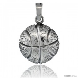 Sterling Silver Basketball Pendant, 3/4 in