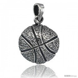 Sterling Silver Basketball Pendant, 5/8 in