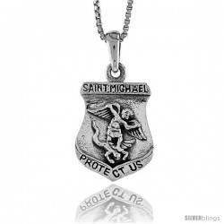 Sterling Silver Saint Michael Pendant, 3/4 in -Style Pa1349