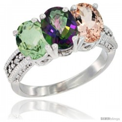 14K White Gold Natural Green Amethyst, Mystic Topaz & Morganite Ring 3-Stone 7x5 mm Oval Diamond Accent