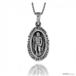 Sterling Silver Saint Florian Pendant, 7/8 in