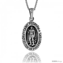 Sterling Silver Saint Florian Pendant, 3/4 in -Style Pa1351