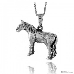 Sterling Silver Solid 3-Dimensional Horse Pendant with great Quality and Detail, 7/8 in