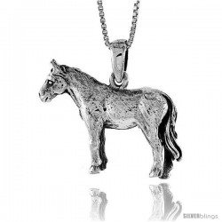Sterling Silver Solid 3-Dimensional Horse Pendant with great Quality and Detail, 7/8 in -Style Pa1314