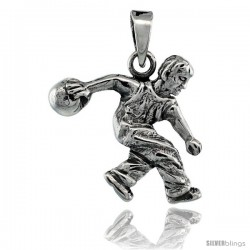Sterling Silver Bowler on Bowling Action Pendant, 3/4 in tall