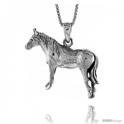 Sterling Silver Solid 3-Dimensional Horse Pendant with great Quality and Detail, 1 in