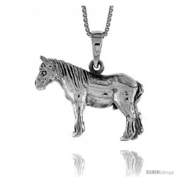Sterling Silver Solid 3-Dimensional Horse Pendant with great Quality and Detail, 3/4 in -Style Pa1317