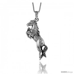 Sterling Silver Solid 3-Dimensional Horse Pendant with great Quality and Detail, 1 1/2 in