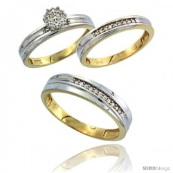 10k Yellow Gold Diamond Trio Engagement Wedding Ring 3-piece Set for Him & Her 5 mm & 3 mm wide 0.11 cttw Brilliant Cut