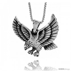 Sterling Silver Pouncing Eagle Pendant, 1 in wide