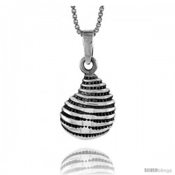Sterling Silver Shell Pendant, 1/2 in