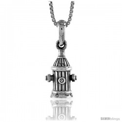 Sterling Silver Fire Hydrant Pendant, 1/2 in